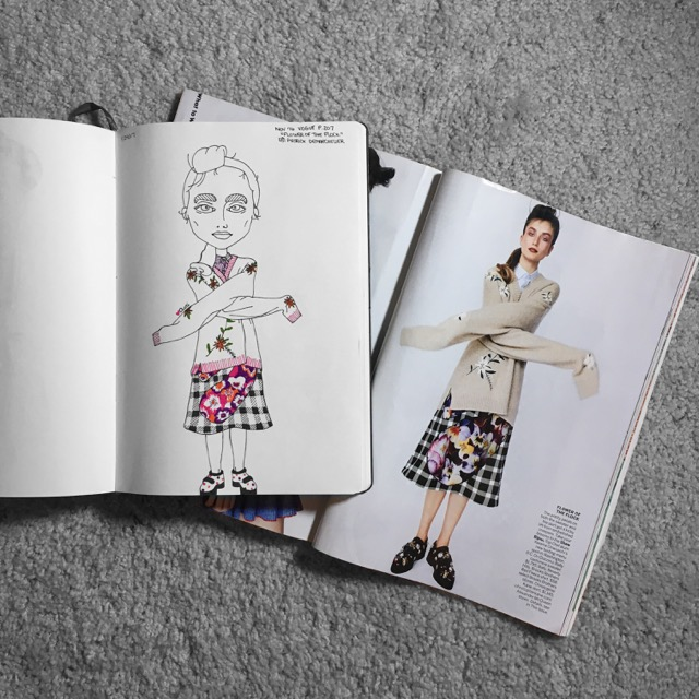 Fashion illustration of a Vogue girl by Asti Stenning