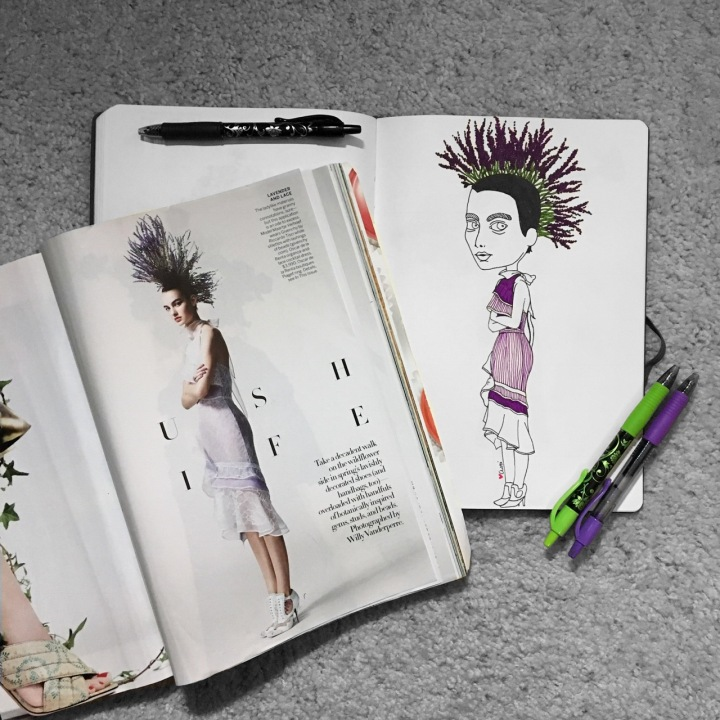 Illustration of girl with lavender in her hair by Asti Stenning