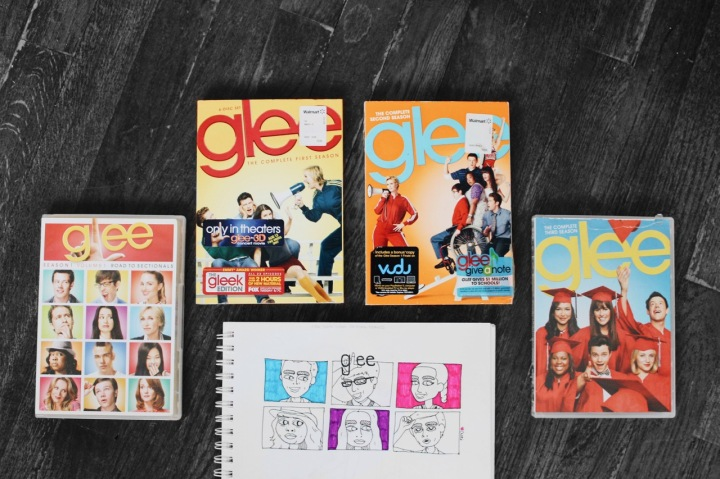 Illustration of Glee characters by Asti Stenning