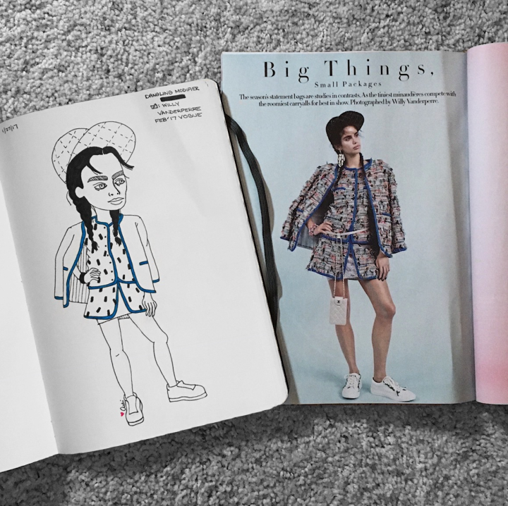 Fashion illustration of a girl from Vogue by Asti Stenning