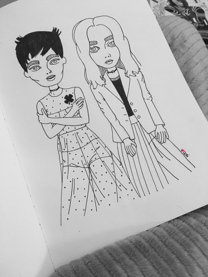 Fashion illustration of two girls by Asti Stenning