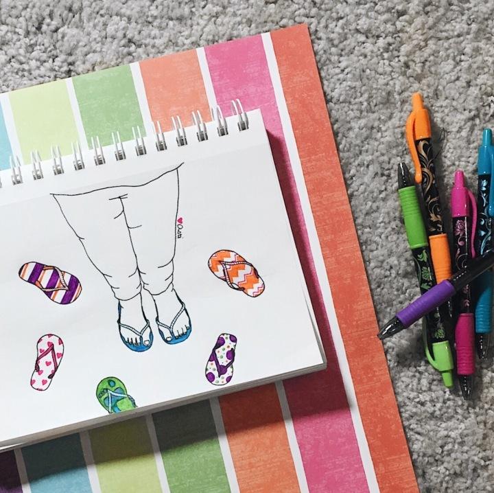 Illustration of feet in flip flops for #doodletimewithkaroline prompt by Asti Stenning
