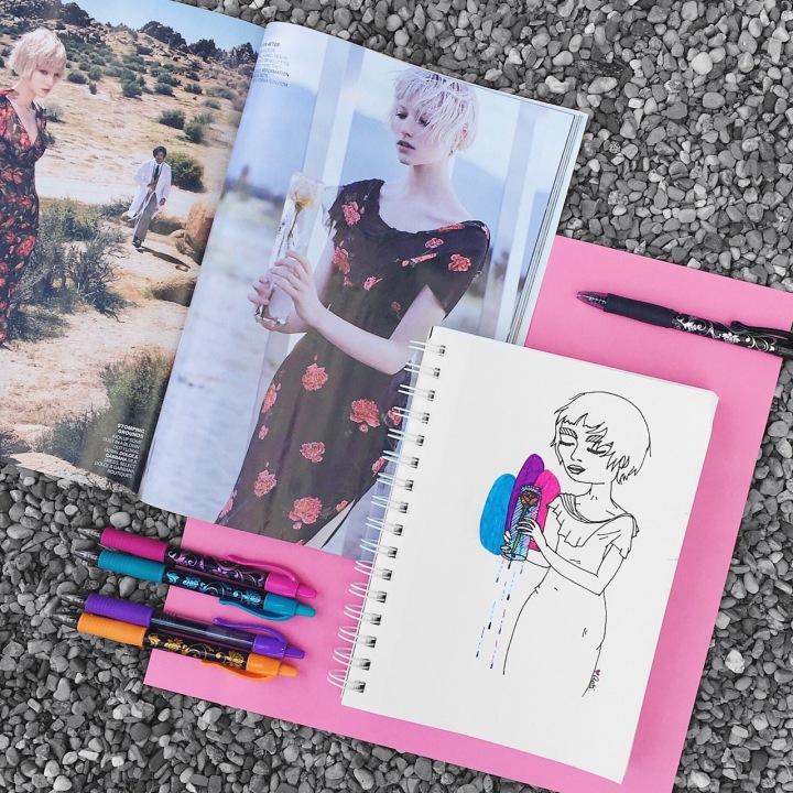 Illustration of a girl holding a melting flower for #doodletimewithkaroline prompt by Asti Stenning
