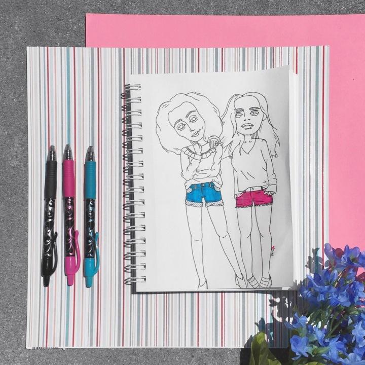 Illustration of girls in shorts for #doodletimewithkaroline prompt by Asti Stenning