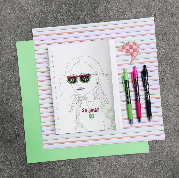Illustration of girl wearing sunglasses for #doodletimewithkaroline prompt by Asti Stenning