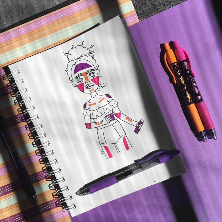 Illustration of girl wearing sunscreen for #doodletimewithkaroline prompt by Asti Stenning