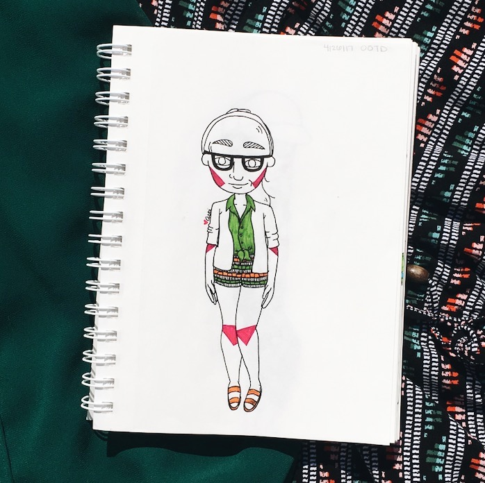 Summer OOTD illustrations: Shorts and sleeveless blouses by Asti Stenning