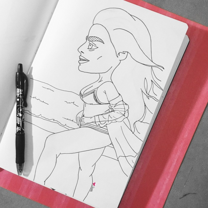 Illustration of a girl in a swimsuit by Asti Stenning